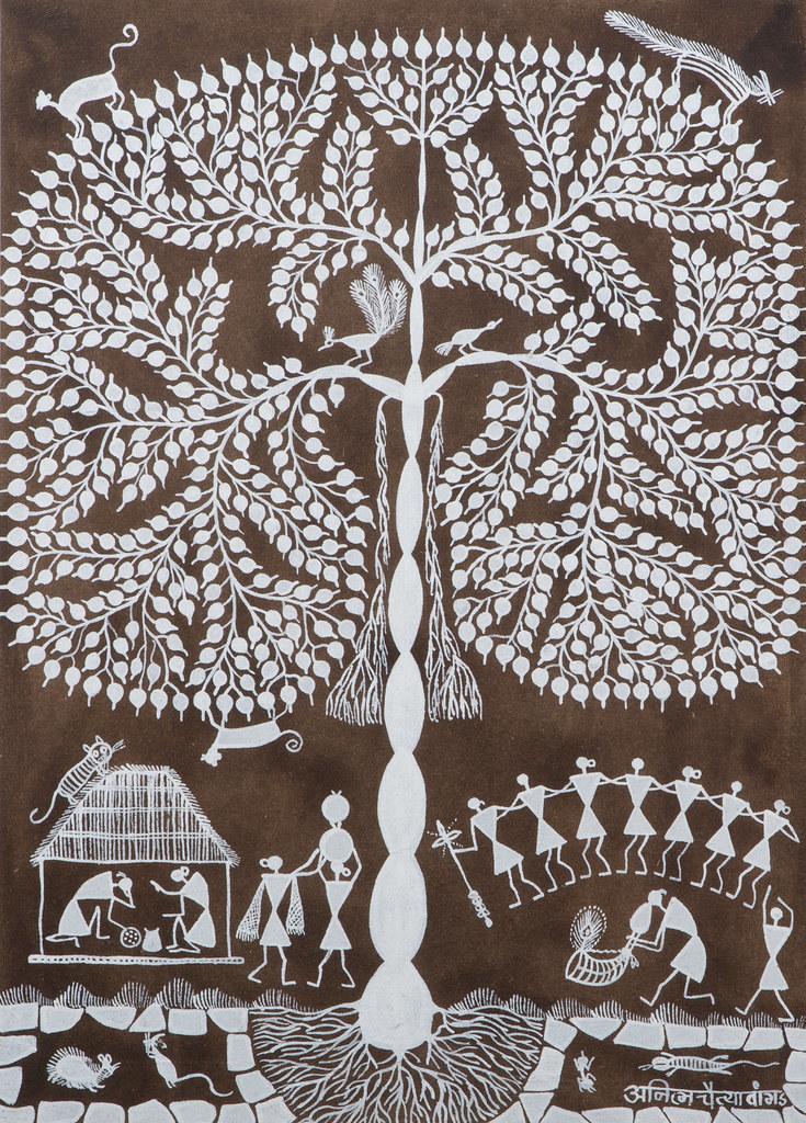 Tree of life warli art maharashtra price 150cow du flickr tree of life warli art maharashtra price 150cow altavistaventures Image collections
