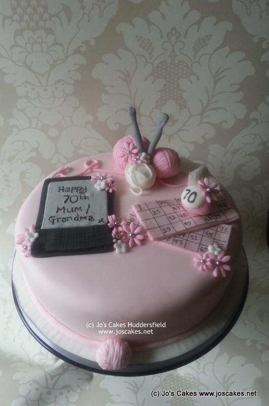 Single Tier 70th Birthday Cake With Knitting Bingo And Ki Flickr
