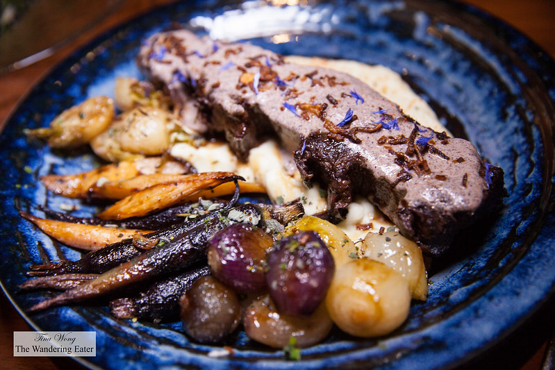 Short & Slow Saintly Ribs, parsnip-cheese puree, roasted roots, cipollini, cashew-poppy kurma
