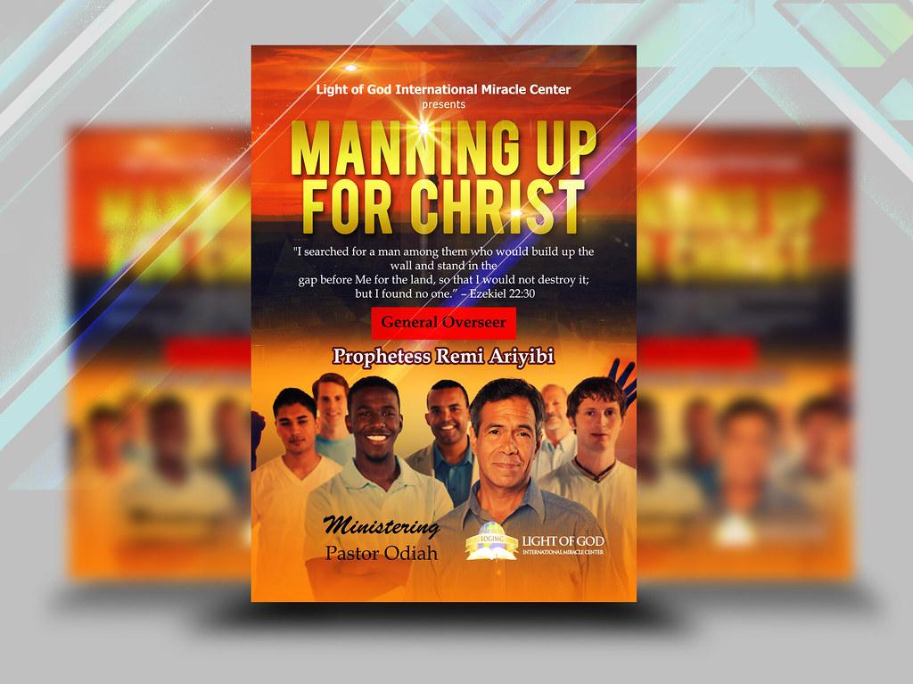 Manning Up For Christ Church Flyer Design