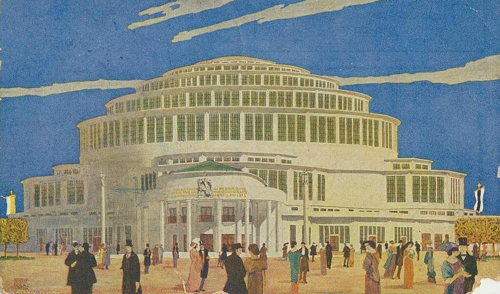 Illustration avec la Halle du Centenaire à Breslau pendant les années folles.