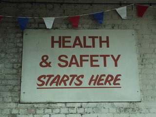 Acocks Green Bus Garage - Open Day - sign - Health & Safety Starts Here | by ell brown