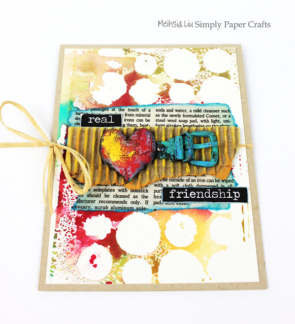Meihsia Liu Simply Paper Crafts Mixed Media Card Real Friendship Simon Says Stamp Monday Challenge Tim  Holtz Prima Flowers 1