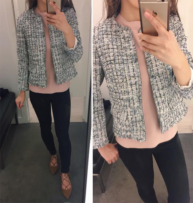ann taylor petite tweed navy jacket office wear review