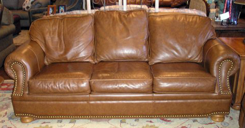 ... Homestylegalleries Thomasville Leather Sofa With Nailheads | By  Homestylegalleries