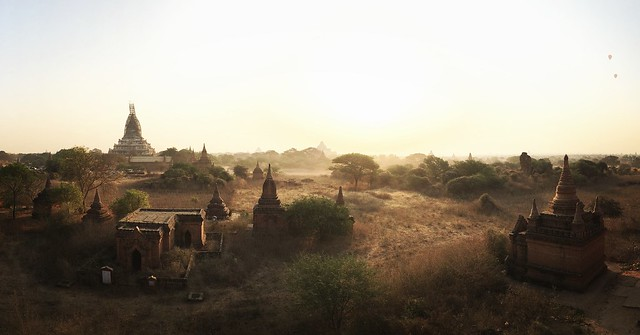 waiting for the sun to rise in Bagan, atop a temple