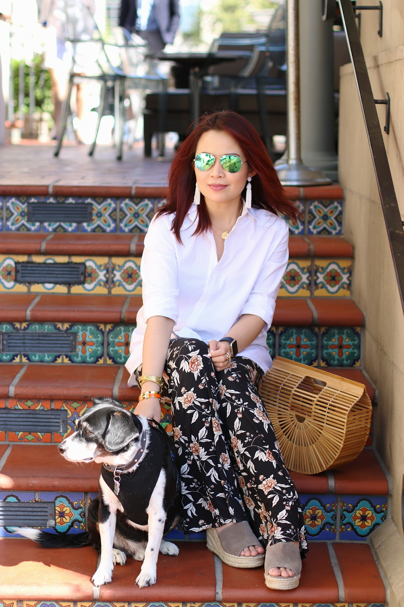 cult-gaia-ark-bag-floral-pants-white-shirt-dog-10