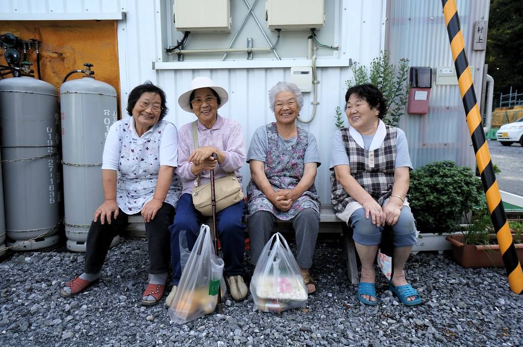 Old Japanese Women Sitting Down and Generally Having a Good Time