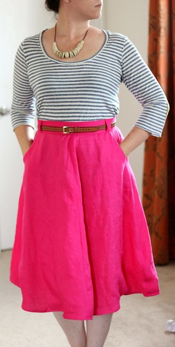 may 28 #mmmay14 hot pink hollyburn skirt front | by wandering spirit designs
