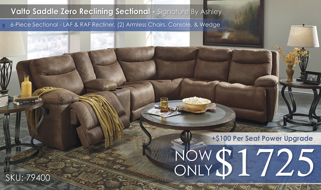Valto Zero Wall Reclining Sectional 6 Piece wConsole - 79400-58-27-46(2)-27-62-CLSD