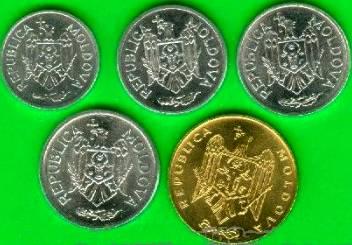 Moldavsko 1-5-10-25-50 Bani 2000-2006 UNC
