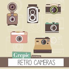 Camera Clipart Digital Retro Pack RETRO CAMERAS For Vintage Scrapbooking