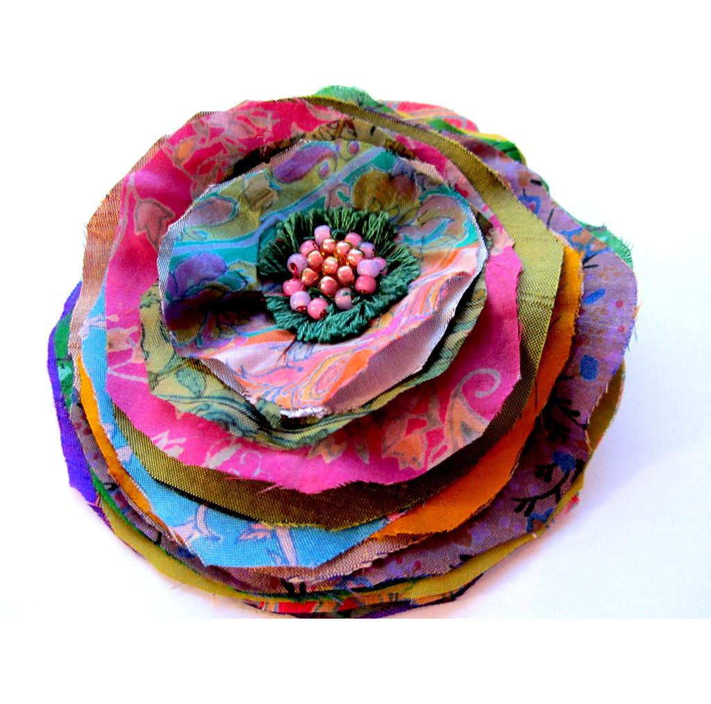 Bombay Blast Upcycled Sari Silk Flower Brooch Pin Loads Of Flickr