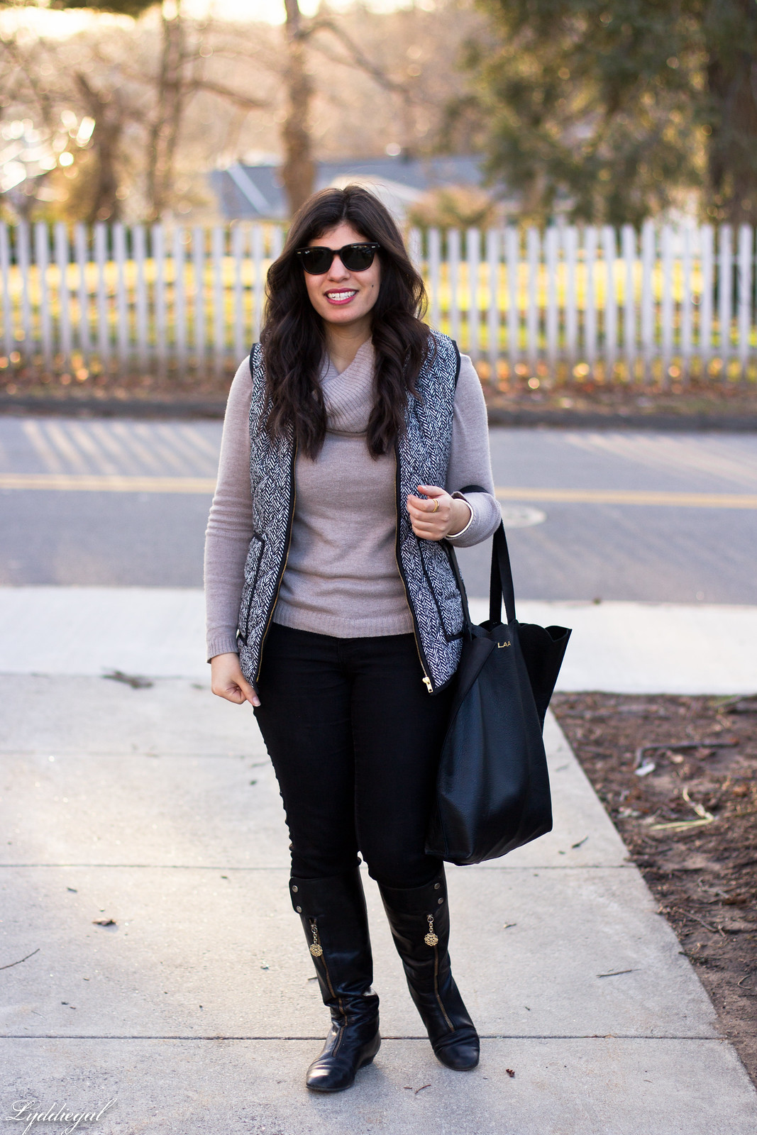 cowl neck sweater, herringbone vest, black jeans, matine scalloped tote.jpg