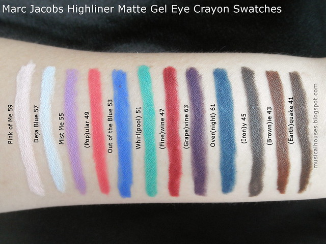Marc Jacobs Highliner Matte Gel Eye Crayon Swatches Eyeliner