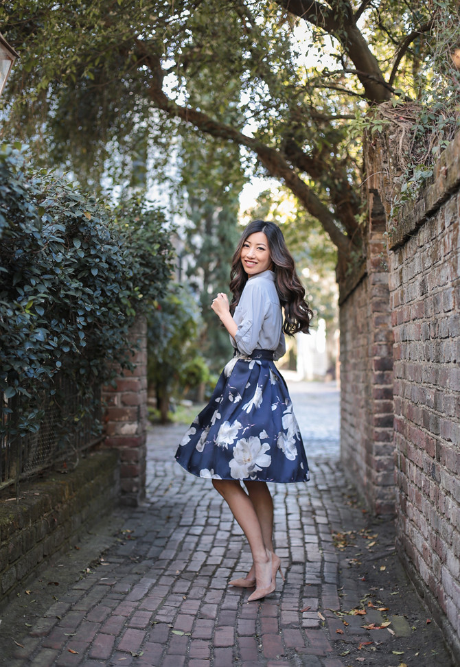 chicwish floral skirt review petite fashion blogger