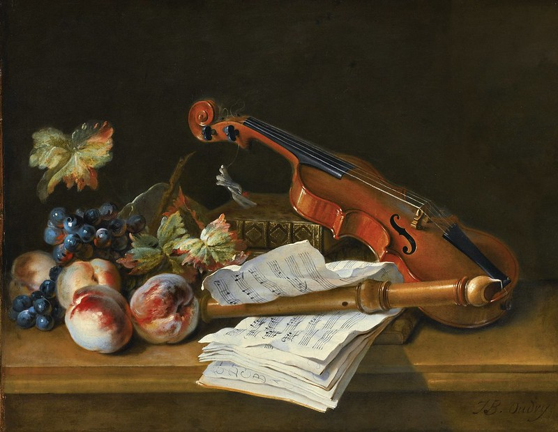 Jean-Baptiste Oudry - Still Life with a Violin, a Recorder, Books, a Portfolio of Sheet of Music, Peaches and Grapes