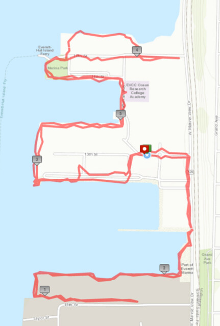 Today's awesome walk, 5.92 miles in 1:52, 12,590 steps
