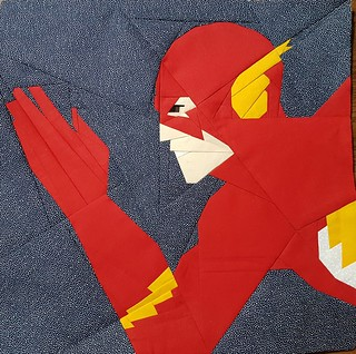 Superhero paper pieced block... THE FLASH... pattern on fandominstitches.com Pieced by Hannah Hughes