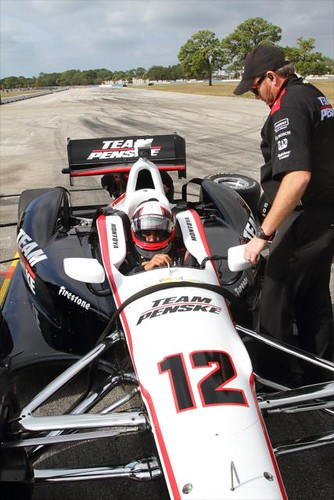 Juan Pablo Montoya settles into his car prior to testing at Sebring | by IndyCar Series
