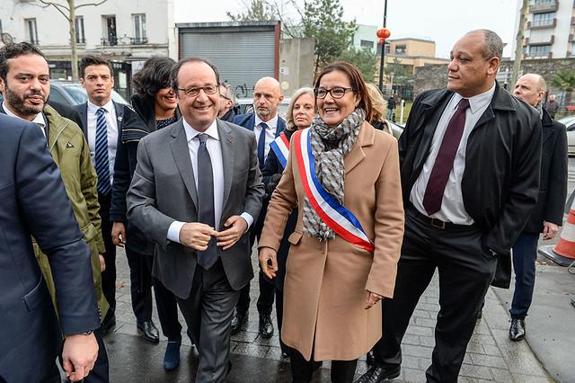 François Hollande en visite à Aubervilliers