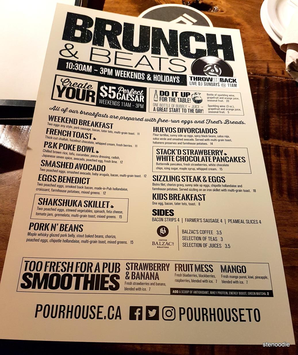 Pour House Pub and Kitchen brunch menu