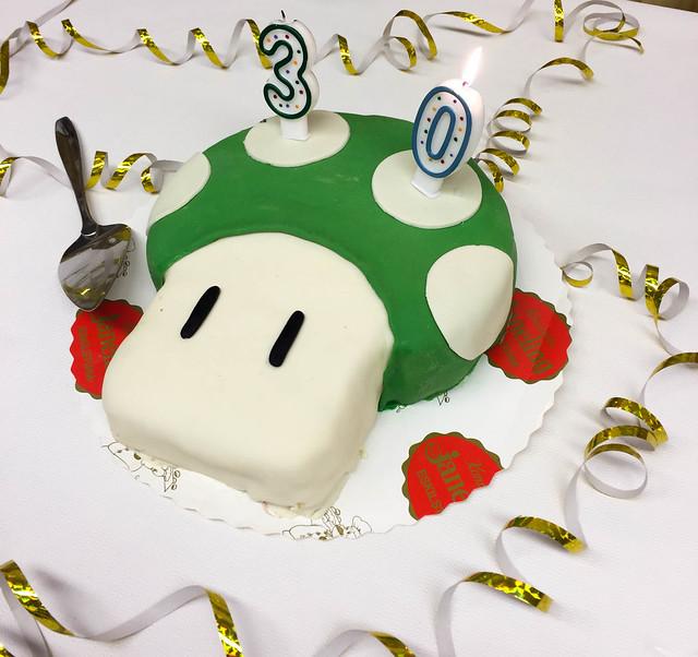 Super Mario svamptårta - Daniels 30-årsfest