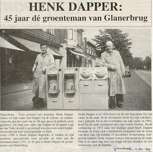 1999-12-14 Henk Dapper 45 jaar dé groenteman van Glanerbrug