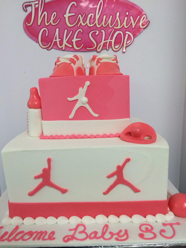 Pink Jordan Baby Shower Cake Exclusive Cake Shop Flickr