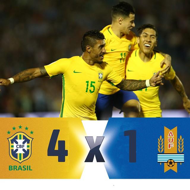 Mundial Rusia 2018 (Clasificación): Uruguay 1 - Brasil 4