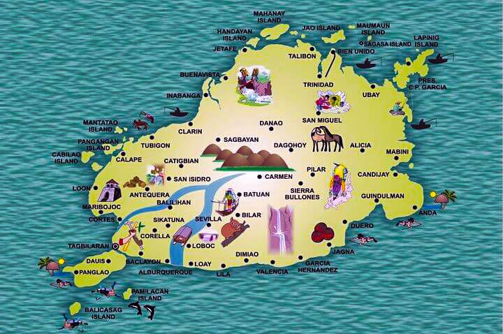 Mapa Chocolate Hills y Tarsiers Bohol