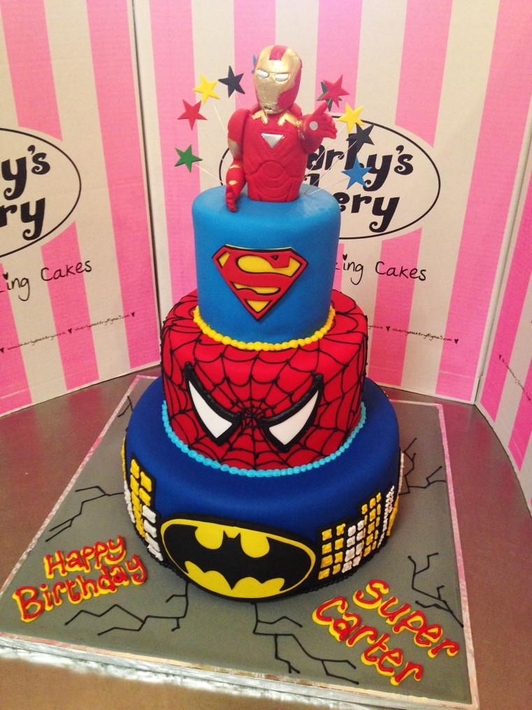 3tier Super hero themed cake with Iron man cake topper Flickr