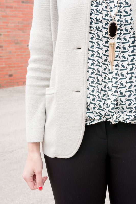 J.Crew gray merino sweater blazer + Loft rabbit print blouse + J.Crew red signet purse + Loft black pants + black Target heels; work wear outfit | Style On Target blog