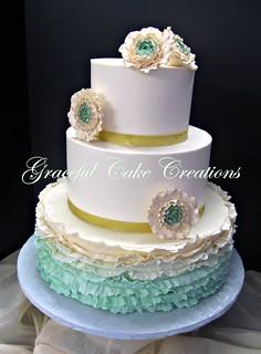 Green Ombre Wedding Cake