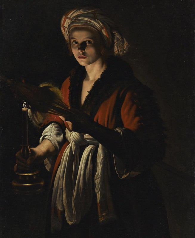 Adam de Coster - A young woman holding a distaff before a lit candle