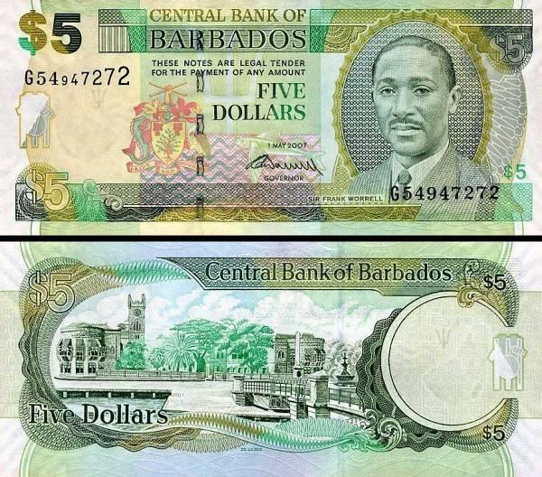 5 barbadoských dolárov Barbados 2007, P67b