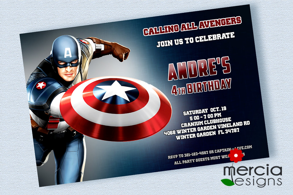 captain america birthday invitations by mercia designs