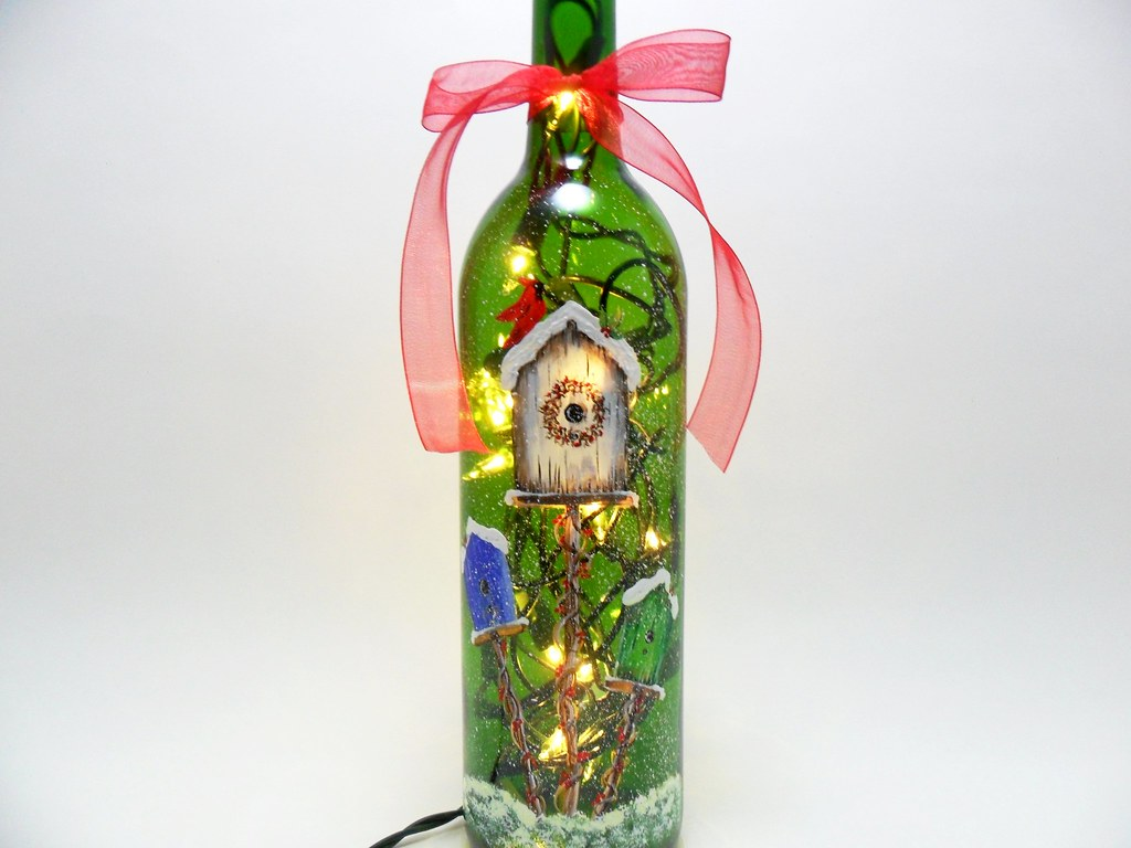 Lighted Wine Bottle Birdhouses Hand Painted Christmas Wint Flickr