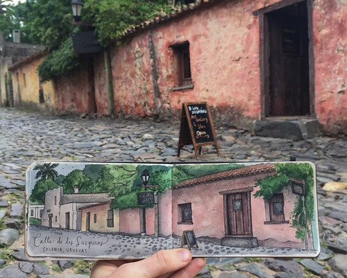 Telling the story of the oldest street in Colonia, Uruguay. Artist Candace Rose Rardon