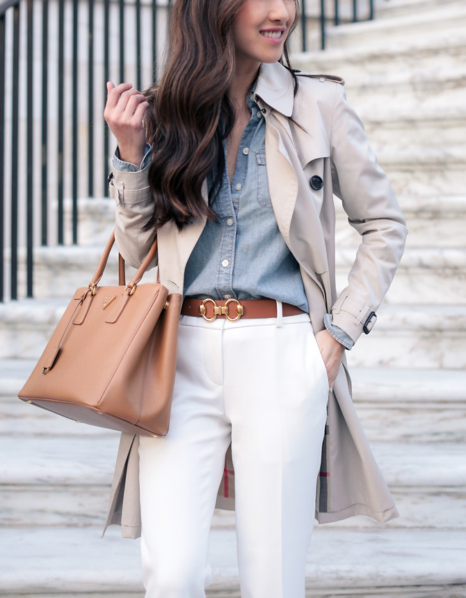 chambray denim shirt white pants trench coat elegant outfit