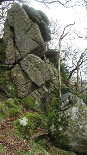 Fine outcrops at the Dewerstone Crags