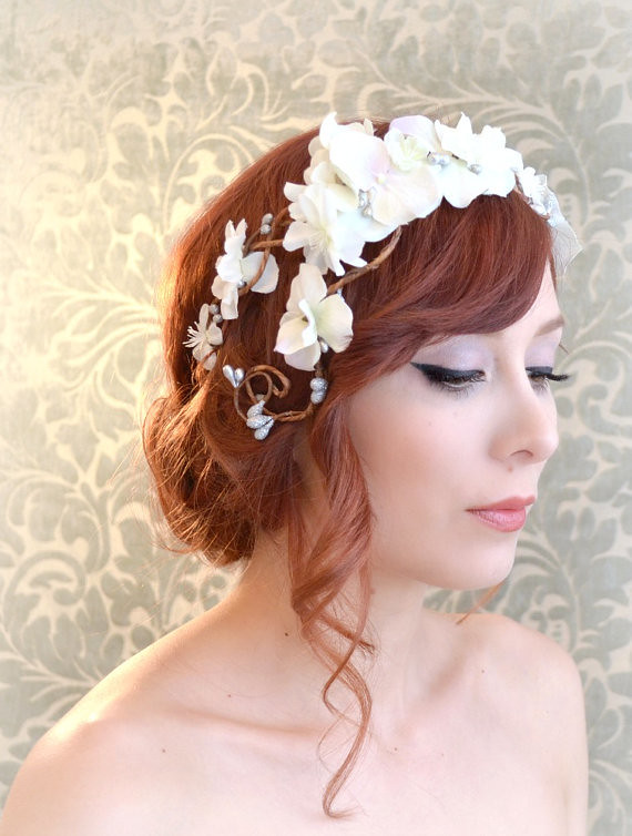 Wedding wreath bridal flower crown white flower headpiec flickr bridal flower crown white flower headpiece woodland headband whimsical wedding mightylinksfo