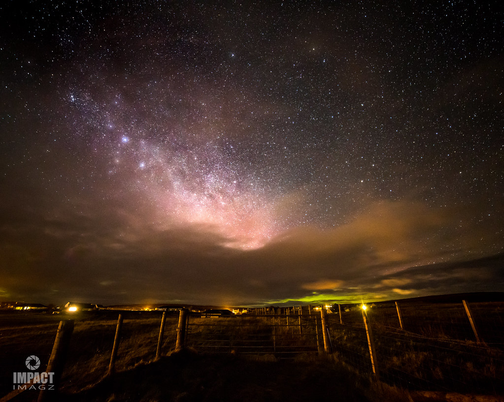 The aurora beneath the milky way as clouds rolled in from the west
