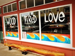 Front window of Flatbread Pizza in Paia | by silent (e)