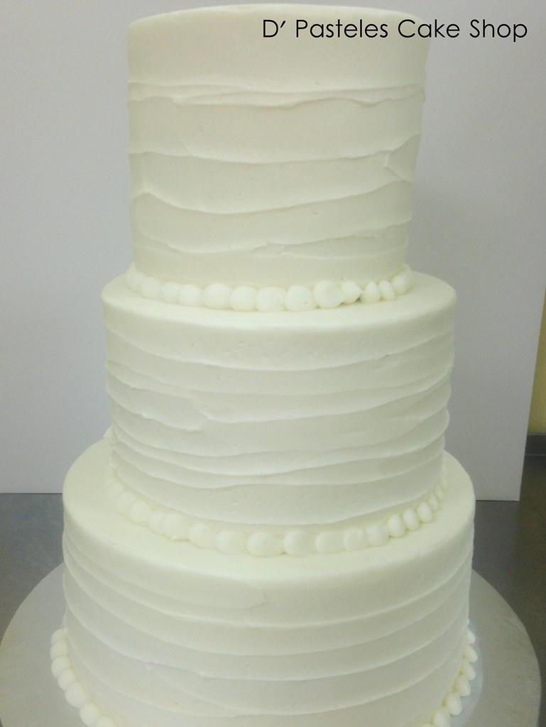 ... White Textured Buttercream Wedding Cake 75 | By Dpasteles Cake Shop