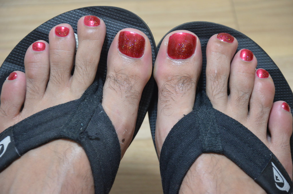 Red Glittery polish   The result ! She chose a silver glitte…   Flickr