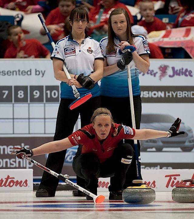 Team Switzerland skip Binia Feltscher calling line as Tea