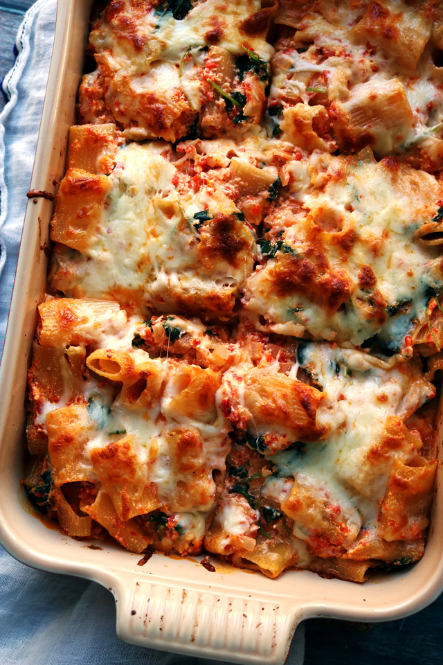 Baked Ziti with Roasted Red Peppers, Baby Kale, and Ricotta | Joanne ...