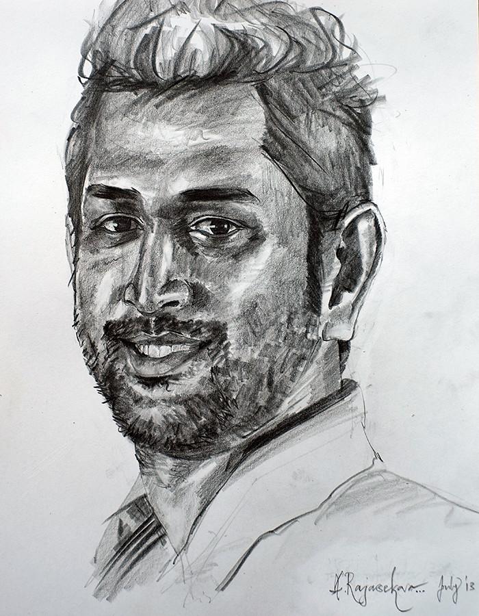 captain cool ms dhoni pencil on paper rajasekar alamanda flickr