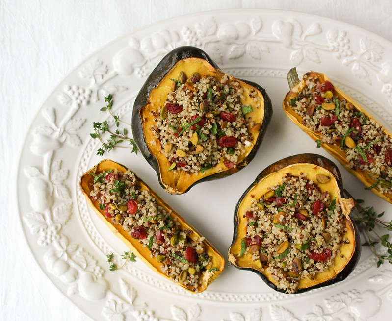 Stuffed Winter Squash + Quinoa, Cranberry & Pistachio